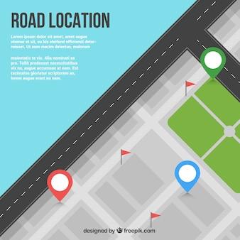 Vista superior de mapa de carretera con tres puntos de referencia