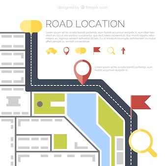 Vista superior de mapa de carretera en diseño plano