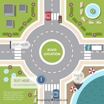 Vista superior de rotonda con vehículos