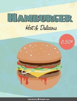 Volante hamburguesa caliente y delicioso