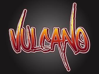 Vulcano palabra cálido color de la insignia del vector
