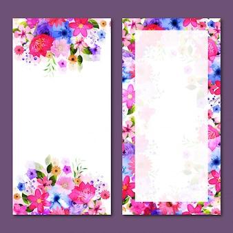 Web banners conjunto con flores de acuarela.