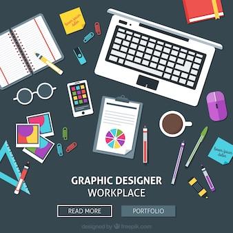 web de espacio de trabajo de diseñador gráfico