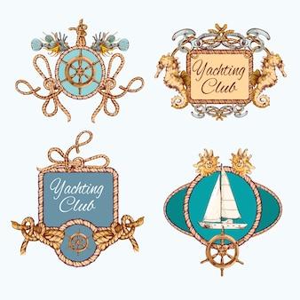 Yachting boceto emblemas conjunto