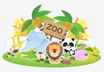 Zoológico lindo de la historieta con los animales coloridos