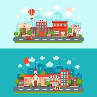 2 schöne Stadtszenen