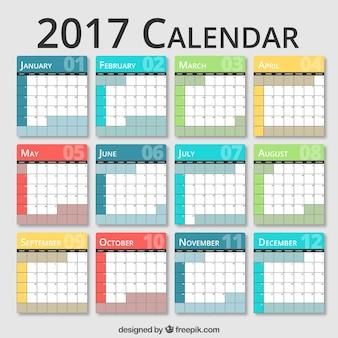 2017 farbige Kalender