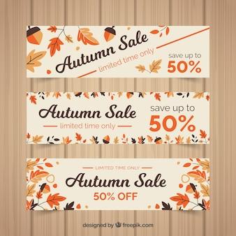 3 Rabatt Banner für Herbst, flache Stil
