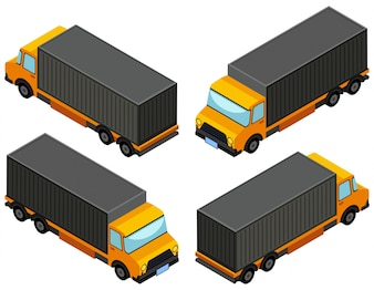 3D-Design für gelben LKW-LKW