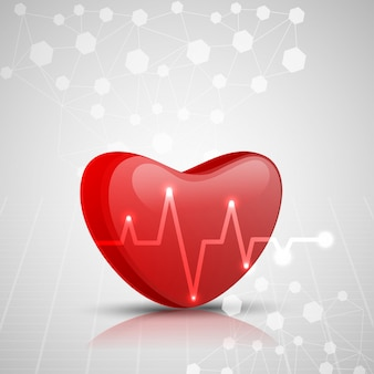 3D rotes Herz mit Elektrokardiogramm, Medizinisches Konzept.
