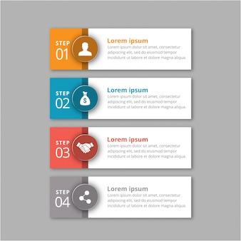 4 Stufen der Infografik mit orange blauen roten und grauen Farben