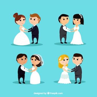 4 süße Hochzeit Paare, hipster Stil