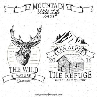Abenteuer gezogen Logos