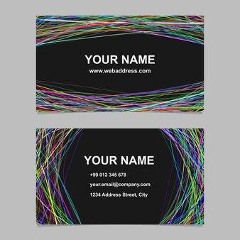 Abstrakt Visitenkarte Vorlage Design-Set - Vektor Corporate Card Illustration mit gewölbten Streifen auf schwarzem Hintergrund
