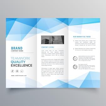 Abstrakte blaue geometrische Trifold-Broschüre Design-Vorlage