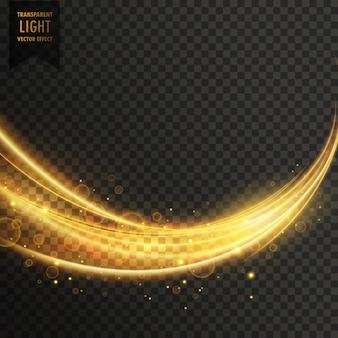 Abstrakte goldene transparente Licht wellige Streifen mit funkeln