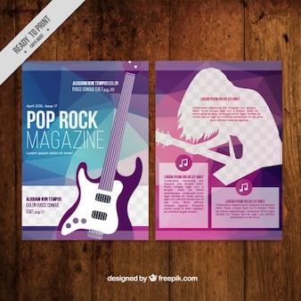 Abstrakte Musikmagazin mit einer Gitarre