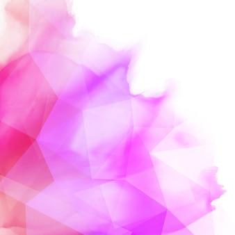 Abstrakter Aquarellhintergrund mit einem niedrigen Polyentwurf