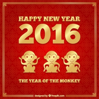 Affe Hintergrund des neuen Jahres in rot und goldener Farbe