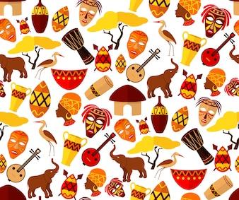 Afrika Dschungel ethnischen Stamm Reise nahtlose Muster Vektor-Illustration