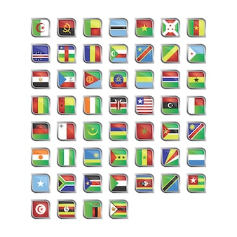 Afrikanische Flaggen Icon Sammlung