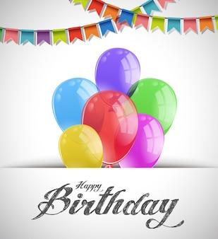 Alles Gute zum Geburtstag Karte mit bunten Luftballons und Fahnen