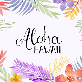 Aloha Hintergrund mit Aquarell Blätter