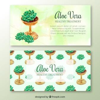 Aquarell Aloe Vera Pflanze Broschüre