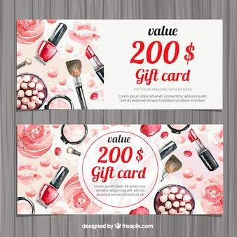 Aquarell Beauty-Accessoires Geschenkkarte