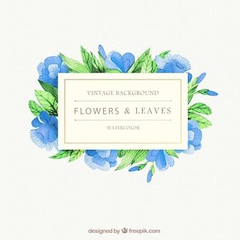 Aquarell blauen Blüten und Blätter Hintergrund