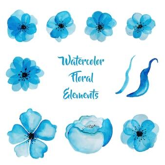 Aquarell-Blumen-Sammlung in der blauen Farbe