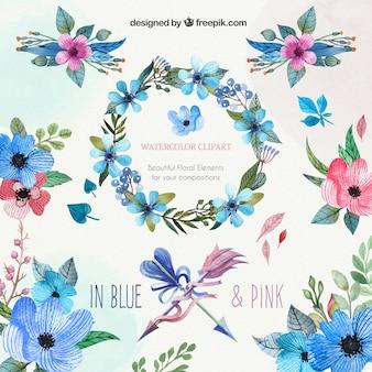 Aquarell-Blumencliparts