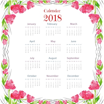 Aquarell blumig bunte 2018 Kalender