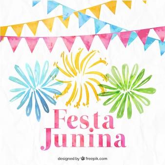 Aquarell festa junina Hintergrund