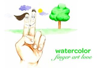 Aquarell Finger Liebhaber Liebe Hand gezeichnet Vektor-Illustration