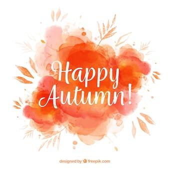 Aquarell Fleck Hintergrund mit Herbstlaub