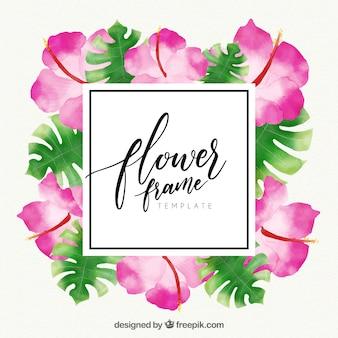 Aquarell floralen Rahmen mit exotischen Blumen und Blätter
