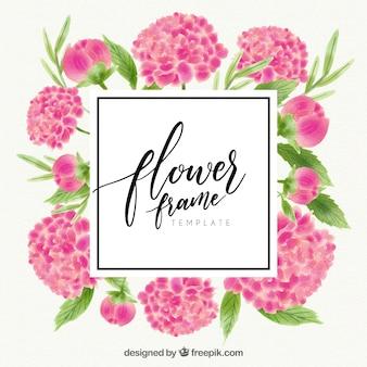 Aquarell floralen Rahmen mit Vorlage