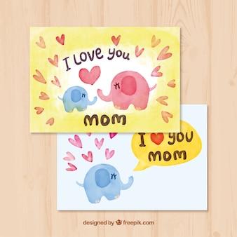 Aquarell-Grußkarte mit Elefanten für den Tag der Mutter