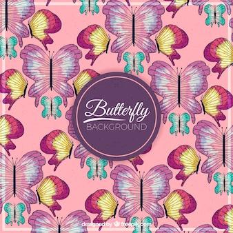 Aquarell Hand gezeichnet Schmetterlinge Hintergrund