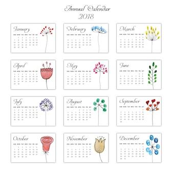 Aquarell Hand gezeichneter Blumenkalender 2018