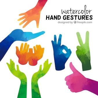 Aquarell Handgesten