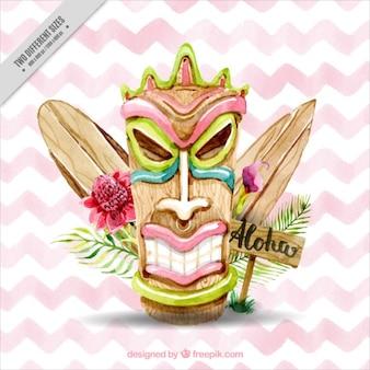 Aquarell hawaiische Maske mit Surfbretter auf einem Zick-Zack-Hintergrund
