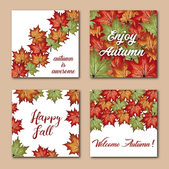 Aquarell-Herbst-Karten mit roten, orange, gelben und grünen Blättern