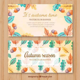 Aquarell herbstliche Banner mit bunten Blättern und Eicheln