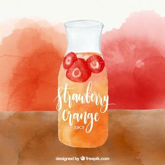 Aquarell Hintergrund der Erdbeere und Orangensaft