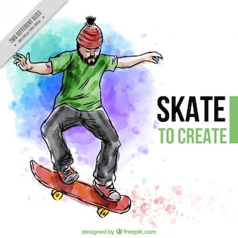 Aquarell Hintergrund mit einem Skater und inspiratonal Phrase