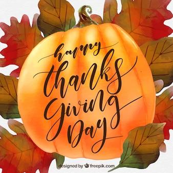 Aquarell Hintergrund mit Thanksgiving Kürbis