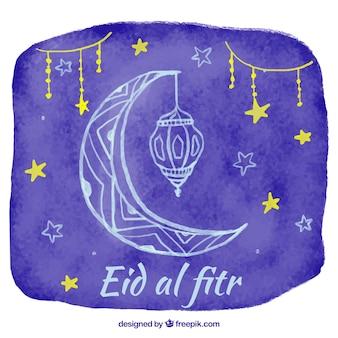 Aquarell Hintergrund von eid al fitr mit Mond und Sternen