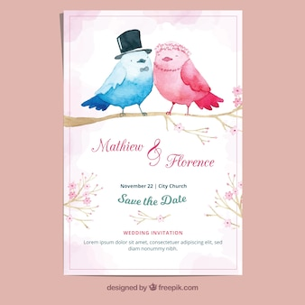 Aquarell-Hochzeitskarte